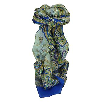 Mulberry Silk Traditional Long Scarf Safia Blue by Pashmina & Silk