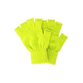 Handschoenen gebreide Vingerloze handschoenen geel