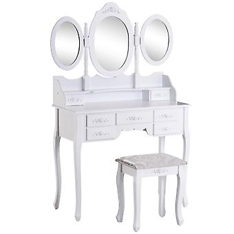 HOMCOM Shabby Chic Dressing Table Jewelry Cosmetic Vanity Set Makeup Dresser 7 Drawers 2 Dividers White w/ 3 Mirrors & Stool