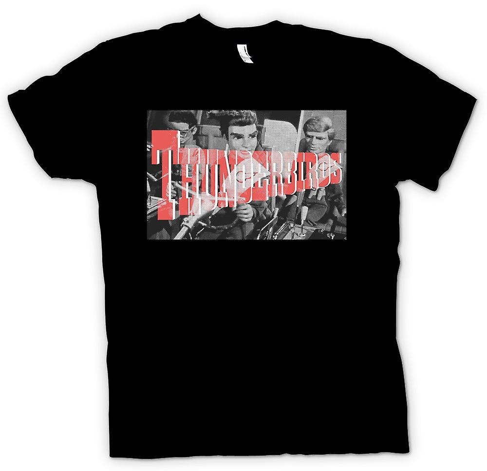 Heren T-shirt - Thunderbirds B&W - Cool Retro TV