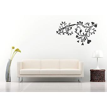 Baroque Flower And Heart Design Wall Sticker