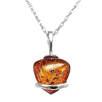 925 Silver Amber Heart Shaped Pendant on 18