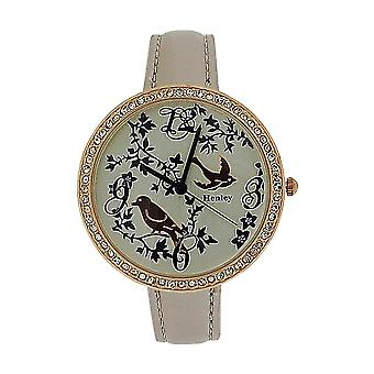 Henley Ladies Two Tone Rose Gold Feathery Friends Pearlised Strap Watch H06072.5
