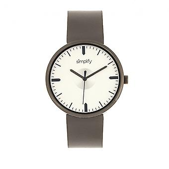 Simplify The 4500 Leather-Band Watch - Gunmetal/Pewter