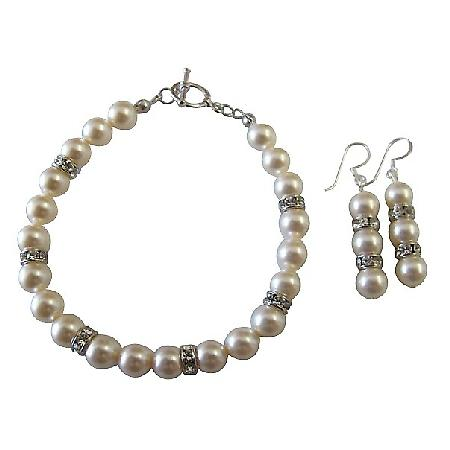 Swarovski Bridal Bridesmaid Ivory Pearls Bracelet & Earrings Jewelry