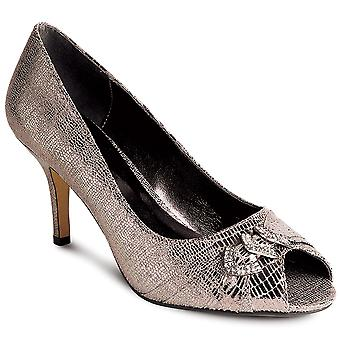 Ladies Shiny Snake Skin Print Peep Toe Diamante Accent Women's Heels Shoes