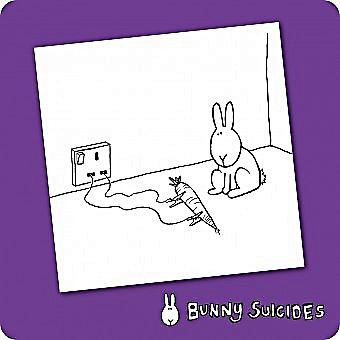 Bunny Suicides Death By Carrot single funny drinks coaster  (hb)