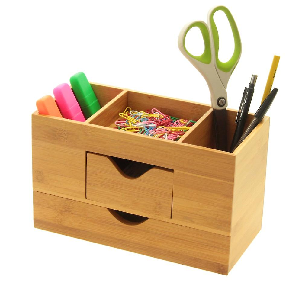 Woodquail Bamboo Desk Organiser Tidy Five Compartments, Stationery Box with 2 Drawers