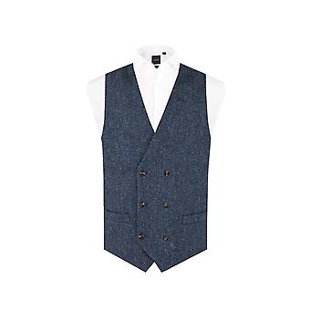Harris Tweed Mens Blue & Black Herringbone Tweed Waistcoat Regular Fit 100% Wool 6 Button Double Breasted