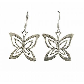 Cavendish French Sterling Silver Hammered Fine Butterfly Earrings