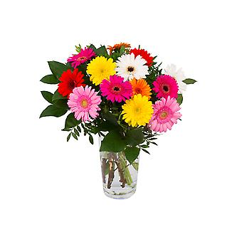 Botanicly - Bouquets | Bunch of Flowers Gerbo small (12 Mini-Gerbera) colorful | Height: 55 cm