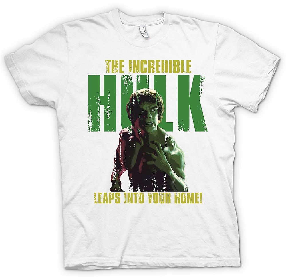 Mens T-shirt - The Incredible Hulk Retro - Leaps Into Your Home