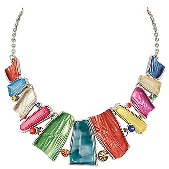 Eternal Collection Panama Rainbow Multi Enamel Silver Tone Silver Necklace