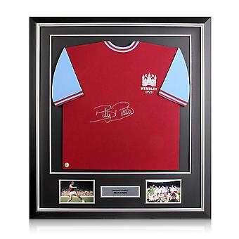 Billy Bonds Signed West Ham 1975 FA Cup Final Shirt In Deluxe Black Frame With Silver Inlay