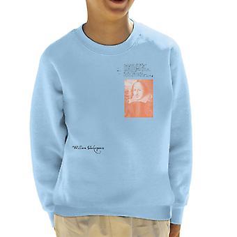 A.P.O.H William Shakespeare Writing Portrait Kid's Sweatshirt