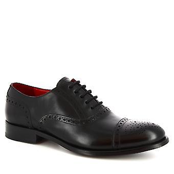 Leonardo Shoes Chaussures Men-apos;s chaussures Oxford lacées à la main en cuir de veau noir