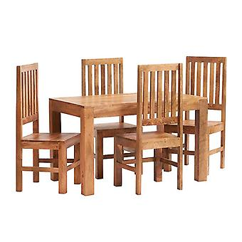 Phoenix Light Mango 4ft Dining Table Set With Wooden Chairs