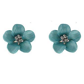 Petite Silver and Matt Blue Daisy Flower Stud Earrings