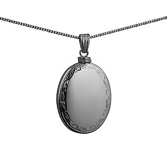 Silver 35x26mm handmade hand engraved scroll edge plain centre oval Memorial Locket with a curb Chain 24 inches