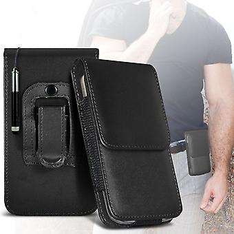 (Black) Case For Samsung Galaxy J3 Pro PU Leather Belt Clip Pouch Holster Samsung Galaxy J3 Pro Cover By i-Tronixs