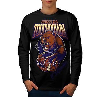 Grizzlies Touchdown Sport Men Black Long Sleeve T-shirt | Wellcoda