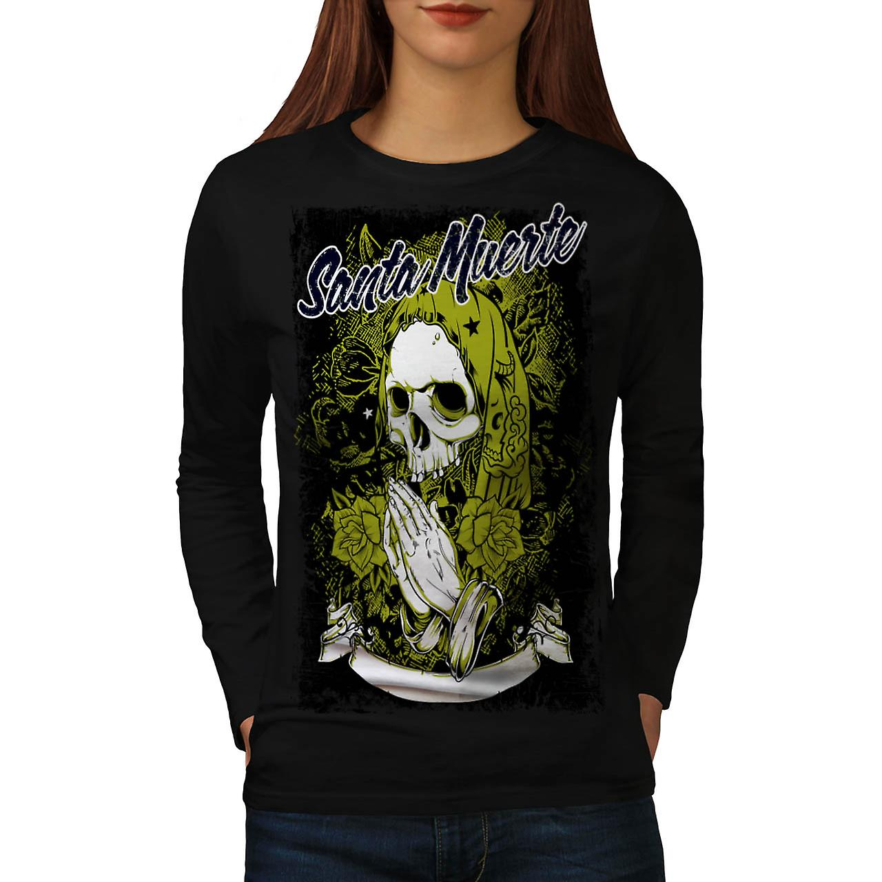 Santa Muerte Skull Death Rage Women Black Long Sleeve T-shirt | Wellcoda