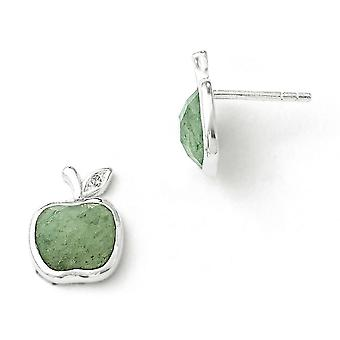 Sterling Silver White Ice Green Aventurine et 1/2pt boucles d'oreilles diamant Post -.007 dwt.51 cwt