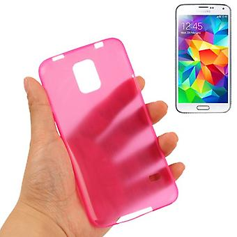 Beschermende cover case ultra dunne 0.3 mm voor mobiele Samsung Galaxy S5 / S5 neo pink transparant