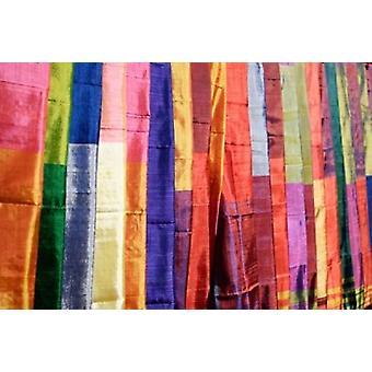 Colorful Silk Scarves at Edfu Market Egypt Poster Print by Michele Molinari