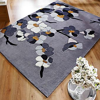 Infinite Blossom Rugs Grey And Ochre