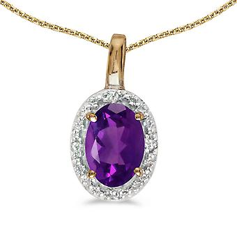10k Yellow Gold Oval Amethyst And Diamond Pendant with 18