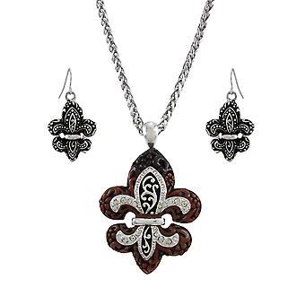Fleur de Lis Necklace and Dangling Earrings Set