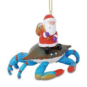 Santa ridning Maryland Blue krabber Christmas Holiday Ornament