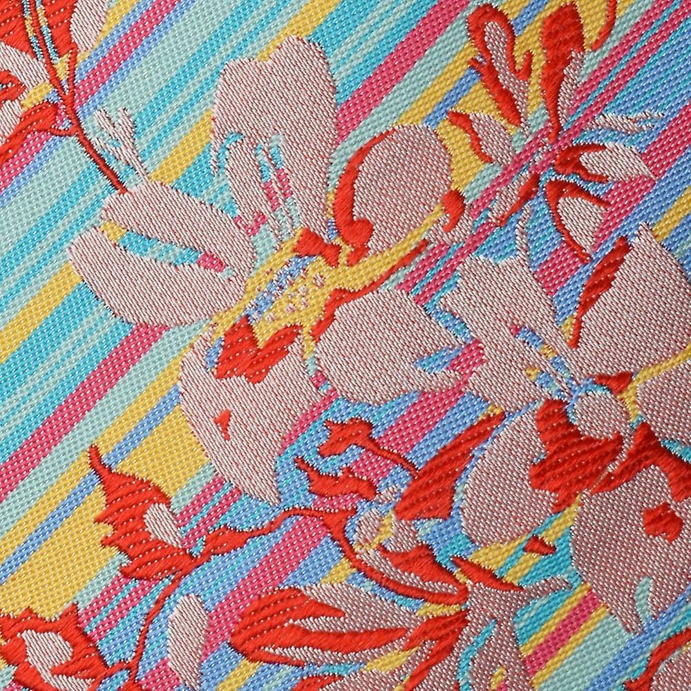 Knightsbridge Turquoise/Pink/Yellow Stripes/Floral Silk Tie
