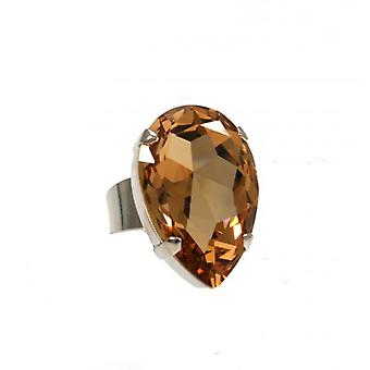 W.A.T Topaz Swarovski Crystal Teardrop Cocktail Ring By Martine Wester