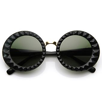 Faceted  Round Circle Oversized Sunglasses