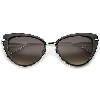 Glam moda Ultra fino Metal templo Cat ojo gafas de sol de la mujer 55mm
