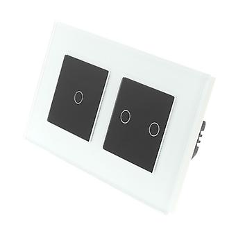 I LumoS White Glass Double Frame 3 Gang 1 Way WIFI/4G Remote & Dimmer Touch LED Light Switch Black Insert