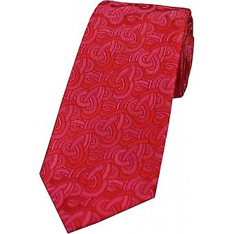 David Van Hagen Link Pattern Luxury Silk Tie - Red