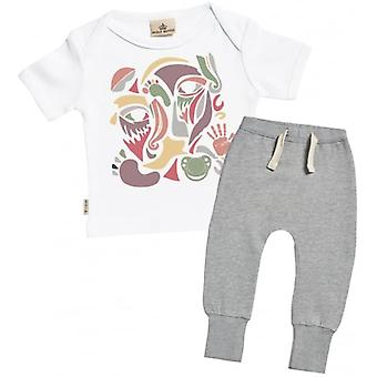 Verwöhnte faulen Farbe Gesicht Collage Baby T-Shirt & Jogger-Outfit-Set
