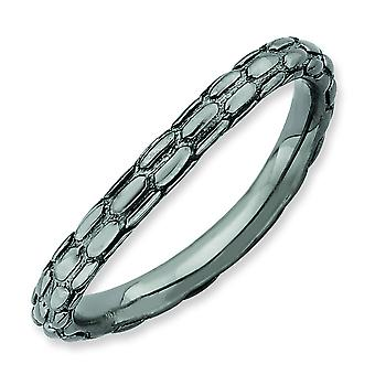 2.25mm Sterling Silver Stackable Expressions Polished Black-plate Wave Ring - Ring Size: 5 to 10