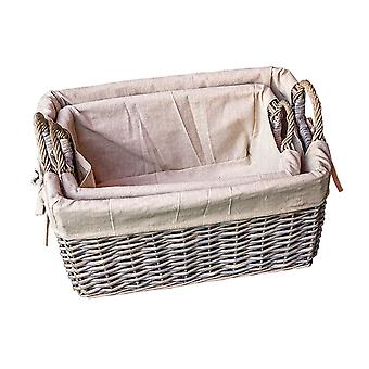 Set of 2 Provence Liner Wicker Storage Baskets