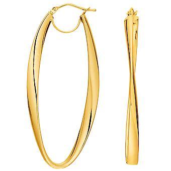 14K Gold 2mm Shiny Wavy Hoop Earrings