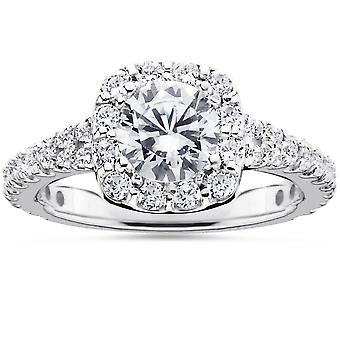 1 1 / 2ct coussin Halo Diamond Engagement Ring 14K or blanc rond taille brillant