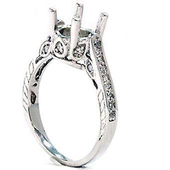 1/3ct Vintage 14K White Gold Diamond Engagement Ring Setting