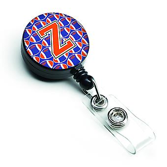 Letter Z Football Green, Blue and Orange Retractable Badge Reel