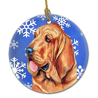 Carolines Treasures  LH9286-CO1 Bloodhound Winter Snowflake Holiday Ceramic Orna