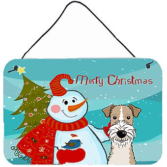 Snowman with Wire Haired Fox Terrier Wall or Door Hanging Prints