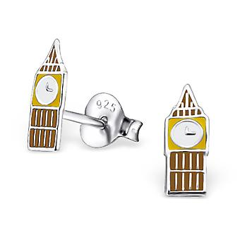 Clock Tower - 925 Sterling Silver Colourful Ear Studs