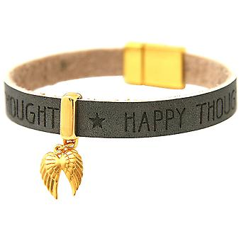 Gemshine - ladies - bracelet - protection Angel - double wing - gold plated 925 silver - gilt anthracite - grey - magnetic lock - WISHES -